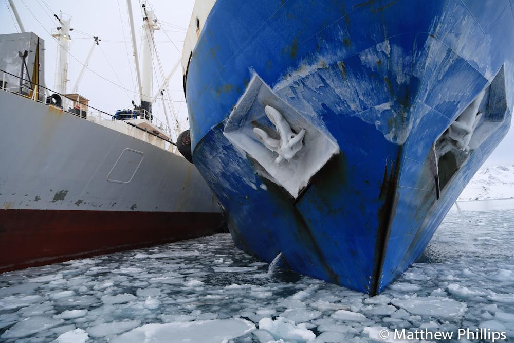 South georgia, Antarctica, bow of ship, frozen, sea ice