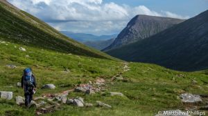 Miles powering through the Larig Ghru, Cairngorm Mountains.
