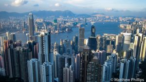 Victoria Harbour from 'The Peak'.