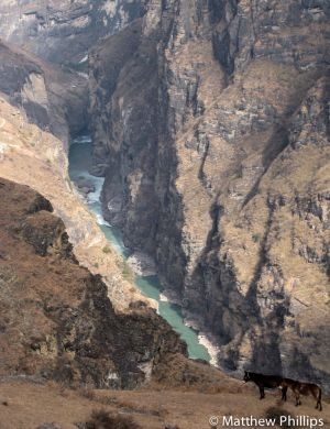 Yangtze River passing through Tiger Leaping Gorge, Yunnan Province.